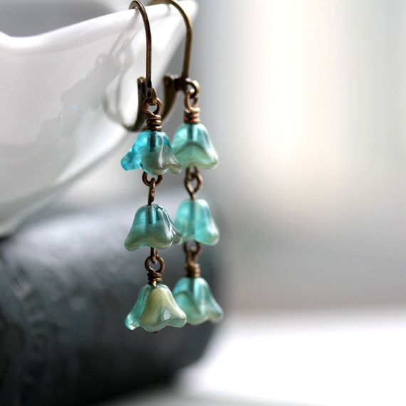 Flower Dangle Earrings with Teal Blue Czech Glass Beads