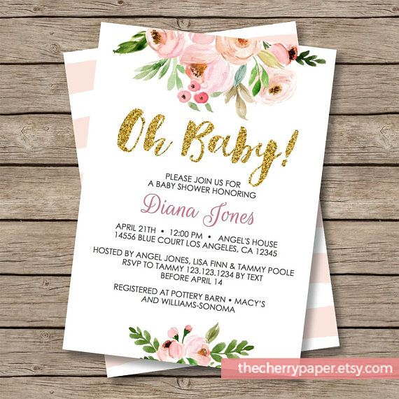 Oh Baby, Baby Shower Invitation, Baby Shower Invite, flowers, florals, garden, sweet, boho, watercolor, printable, instant download