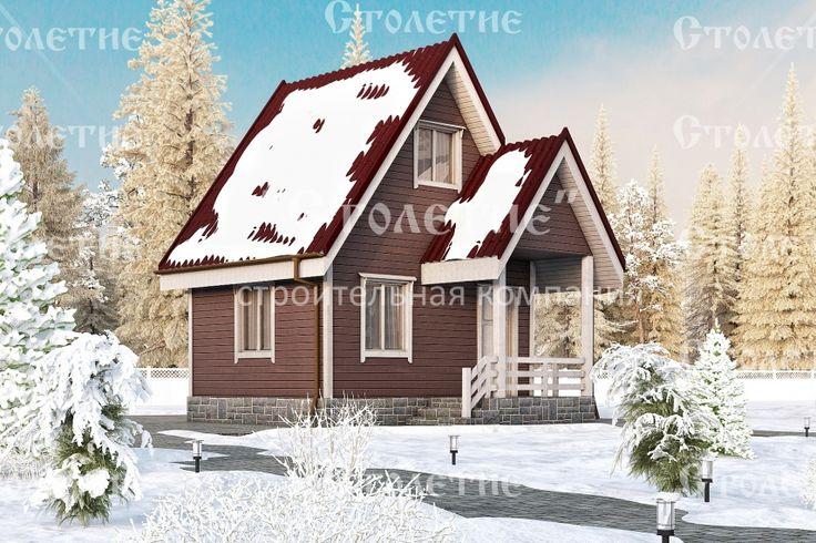 Проект дома ДБ-09 размером 4 на 5 метра в цветом решении Зима