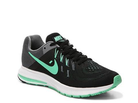 Nike Zoom Winflo 2 Lightweight Running Shoe synthetic/mesh black/green,  grey/