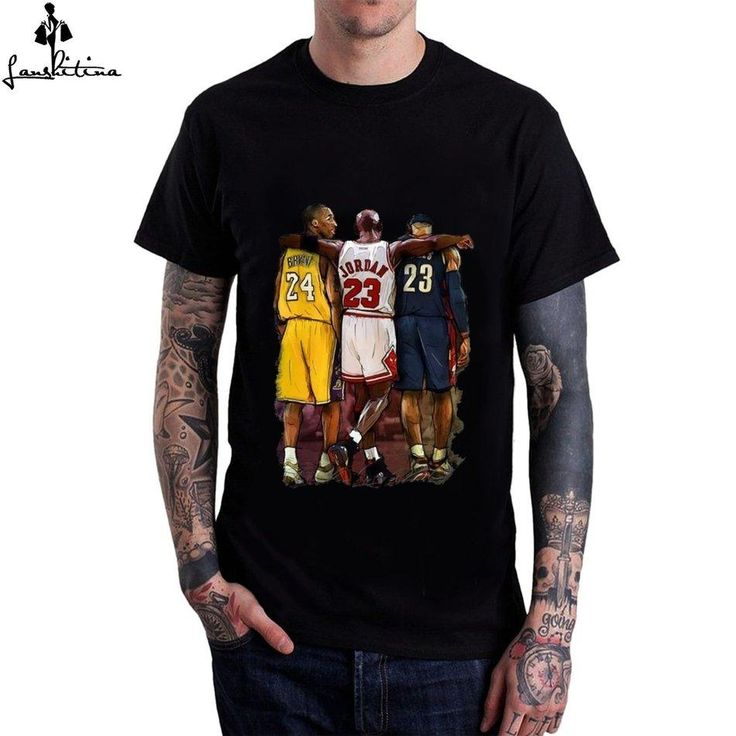 Black T-Shirt with custom cool colorful print on Kobe and Jordan walking on the Basketball  Style: Fashion Sleeve Length(cm): Short Material: Cotton,Modal Colla