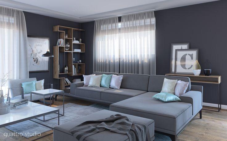 Contemporary living room. Yatas angular sofa. Grey tones interior.