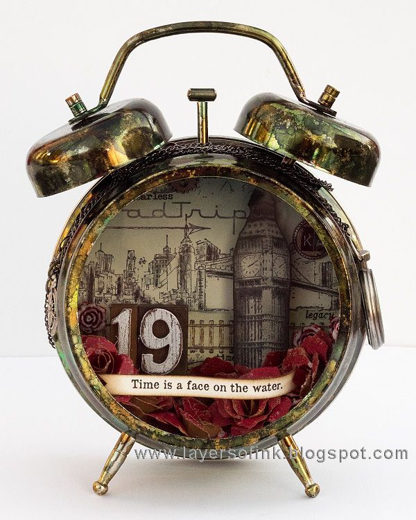 Layers of ink - Dark Tower Assemblage Clock Tutorial by Anna-Karin Evaldsson.