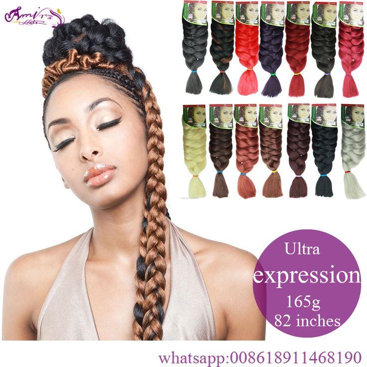 "82"" Expression Braid 165G Ultra Kanekalon Expression Braiding Hair Crochet Box Braids Hair Jumbo Crochet Braids Fast Hair"