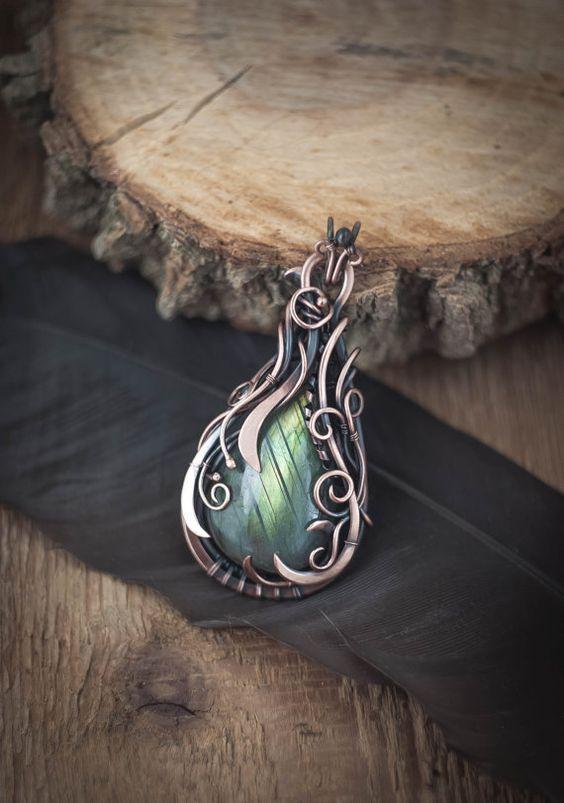 Wire wrapped pendant labradorite necklace Labradorite pendant Copper pendant…