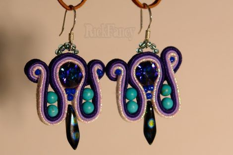 Soutache earrings with swarovski elements, elegant artisan fashion jewelry with sterling silver earring hook
