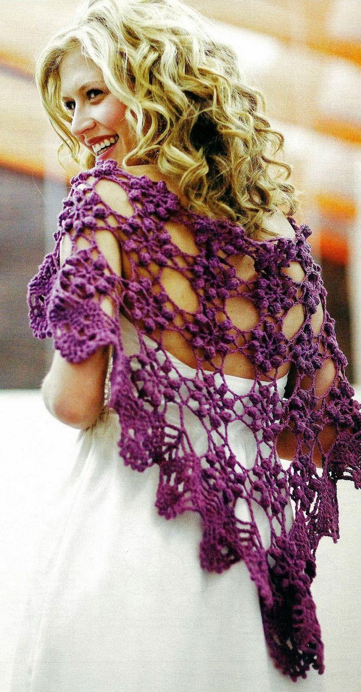 Chal Crochet Motivos Punto Palomita - Patrones Crochet shawl free pattern