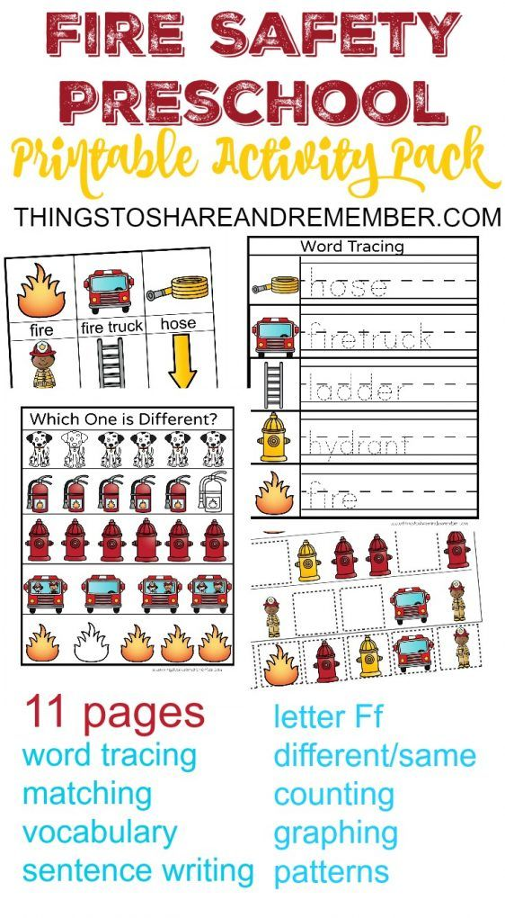Fire Safety Preschool Printable Activity Pack Fire