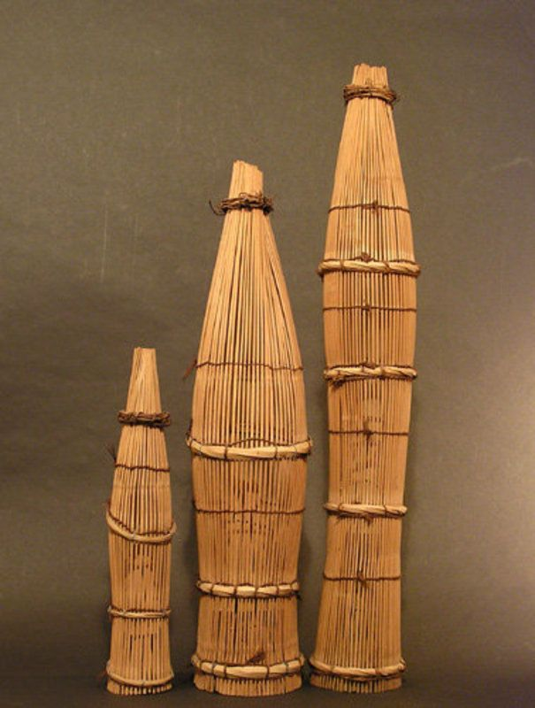 "Shrimp Traps. Bamboo. Japan. Circa Early to Mid-20th Century. 34"" to 19"""