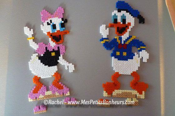 Donald et Daisy en perles hama – modèles perles à repasser