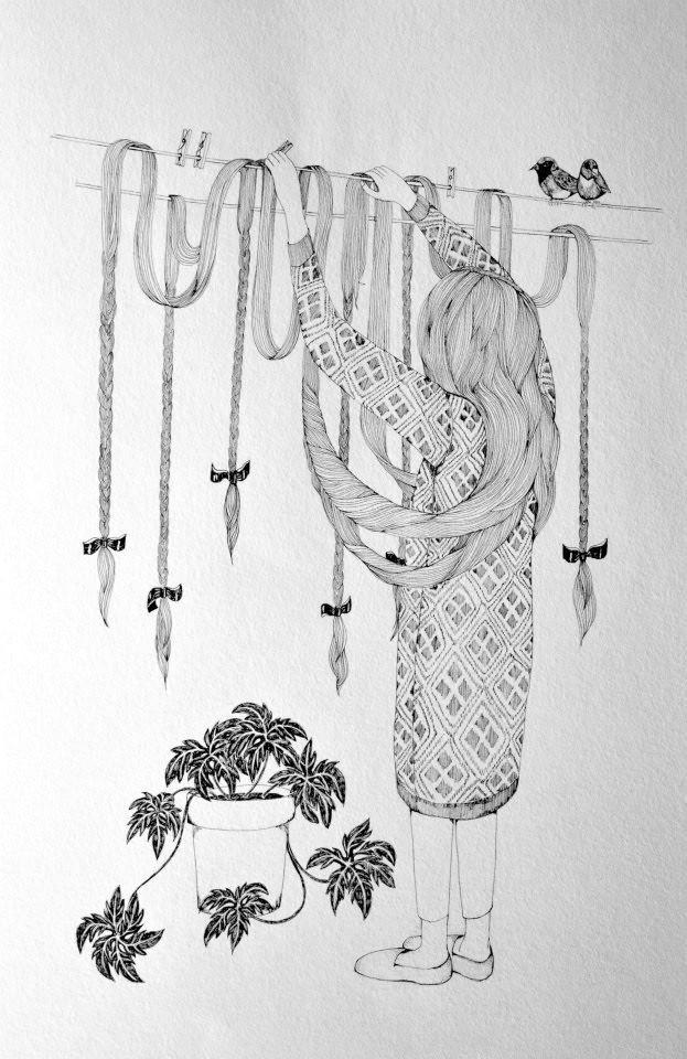 Bird on a wire. Illustration by Jennie Ekström.
