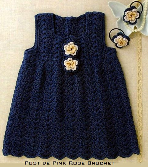 Navy Blue makes this simple crochet baby dress striking