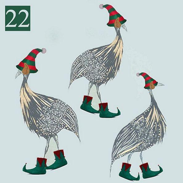 22nd December - Santa's elves working hard to hit the deadline in two days time! #juliettraversadventcalendar #christmas #santashelpers #elves #guineafowl