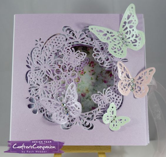 Box book card (outside) made using Sara Signature Flutterby Collection – Fluttering frame and trio of wings dies. Designed by Rachel Webber #crafterscompanion