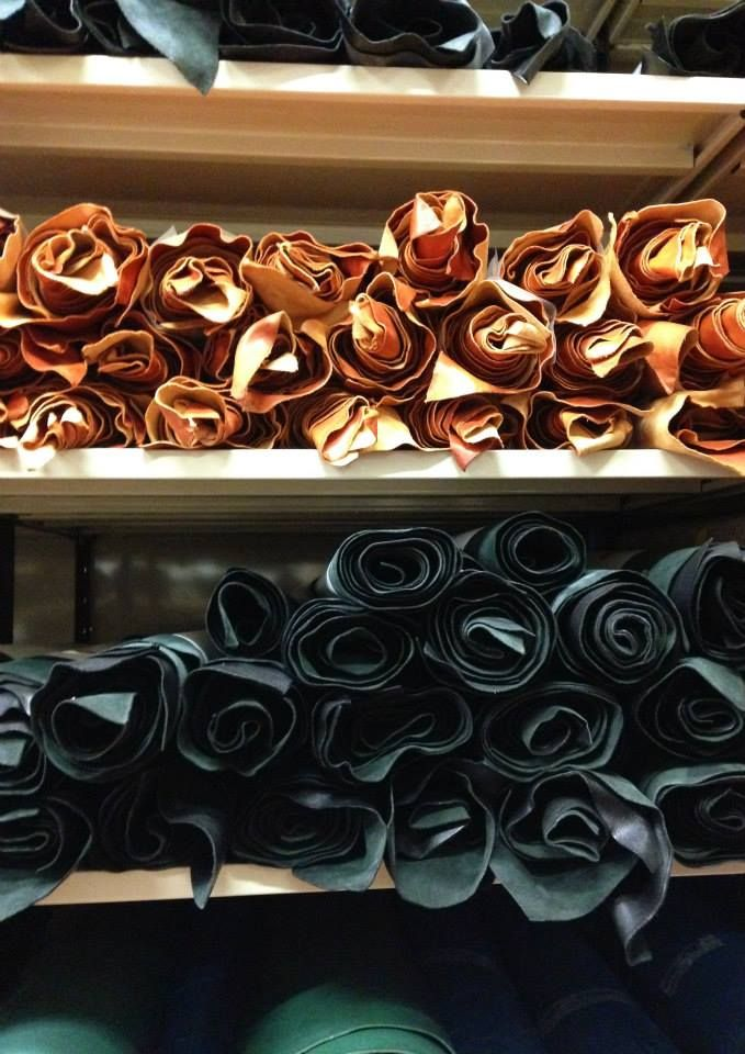 A stage of our production process: we roll up the pieces of leather and place them in our storehouse. Carefully divided by color and type of leaher. #IlBisonte #backstage