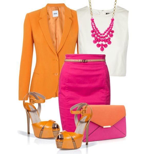 С чем носить оранжевые босоножки: белый топ, розовая юбка, оранжевый пиджак, клатч, яркая бижутерия