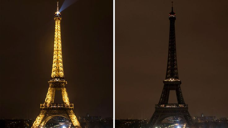 The Eiffel Tower before and after its lights were turned off to mark Earth Hour in Paris, France