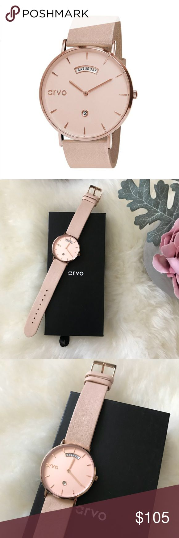 Arvo watch rose awristacrat Wore once. Completely Sold out online. Rose gold watch face. Tan/blush band.   SPECS:  36mm face  Stainless steel case and case back Genuine leather band or Stainless Steel Mesh Japanese quartz movement 7mm case thickness Date window Weekday window Seiko battery arvo Accessories Watches
