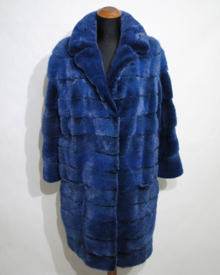 Magnificent dazzling blue mink fur coat, available in our current collection.