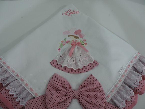 Manta de Piquet Boneca com barradinho poá rosa.
