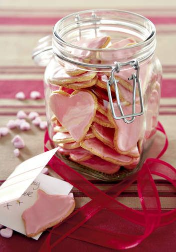 Sweet heart-shaped iced biscuits for your sweeties (makes 40!) - or make the chocolate version.