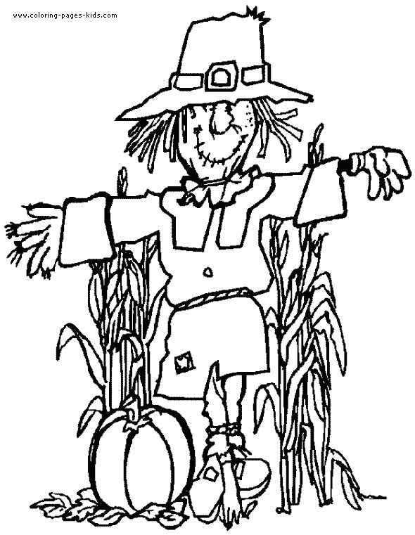 Scarecrow Thanksgiving color page, holiday coloring pages, color plate, coloring sheet,printable color picture
