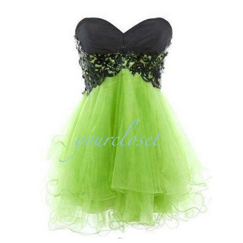 Lime green and black cocktail dress