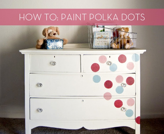 How to paint polka dots....and redo kids' furniture!