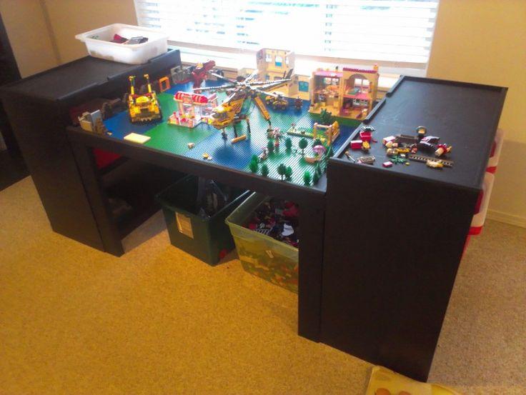 ikea expedit hack lego table and storage darn good ideas pinterest ikea hacks diy lego. Black Bedroom Furniture Sets. Home Design Ideas