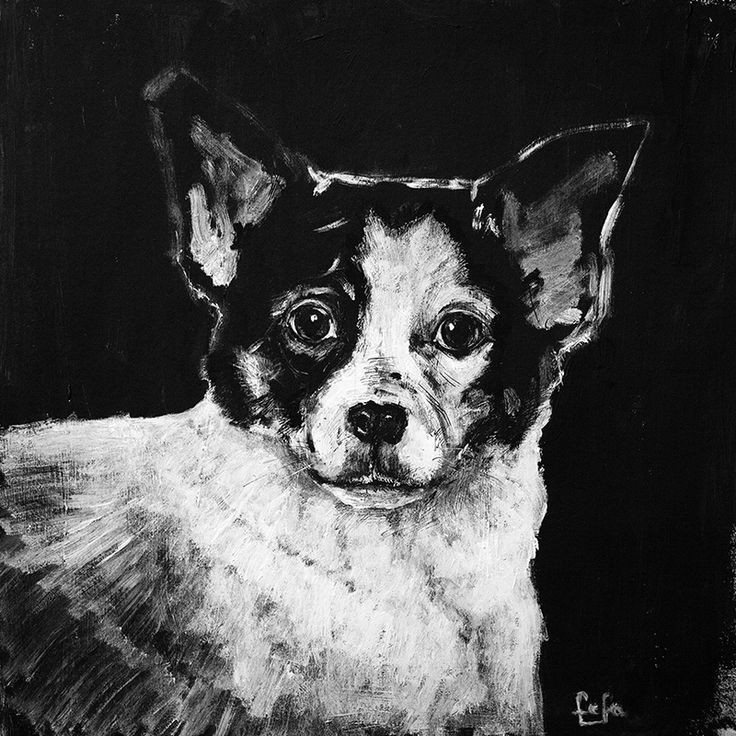 A portrait of a dog   Materials: cardboard, acrylic, inc  Size: 29x29cm