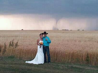 """Gives """"country wedding"""" a whole new meaning, lol (yes, that is a real tornado in the background-near Harper Ks 5/19/12)"""
