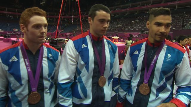 Great Britain's men won an astonishing Olympic bronze medal in the gymnastics team final - having originally taken silver before a Japanese appeal.  Louis Smith, Sam Oldham, Kristian Thomas, Max Whitlock and Dan Purvis sealed GB men's first Olympic team medal since a bronze in 1912.  I think the guy in the middle was the one who did the great Floor event.