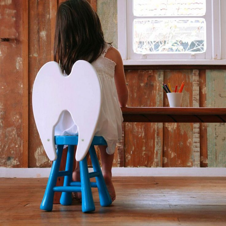 A chair perfect for you little angel. The four-legged beech seat is hand sanded and the MDF wings laser-cut in an old carpentry in Northern Italy. H 62 cm / W 31 cm / D 32 cm. Beech wood, DMS. Please allow 4-6 weeks for shipipng.