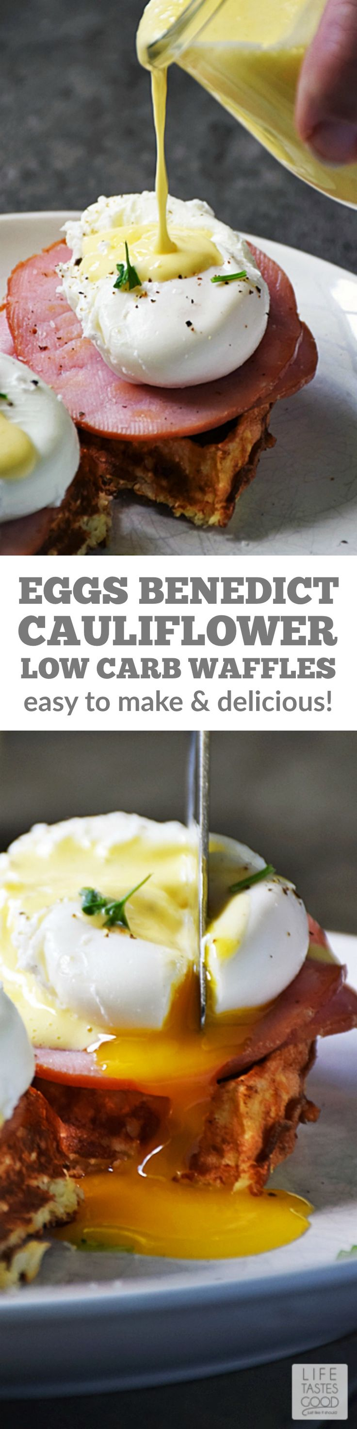 Eggs Benedict Cauliflower Waffles | by Life Tastes Good is much like the traditional Eggs Benedict found on brunch menus everywhere, but it is a lower carb version incorporating cauliflower for a healthier option loaded with delicious flavor. Easy recipe perfect for breakfast or anytime! #LTGrecipes