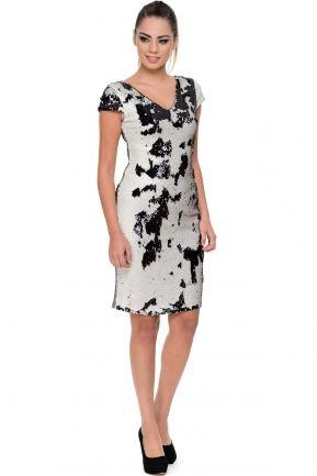 Kısa Siyah-Bej Payet Detaylı Elbise O8268