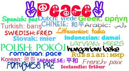 PEACE in 21 different languages by guitarhippie29, via Flickr