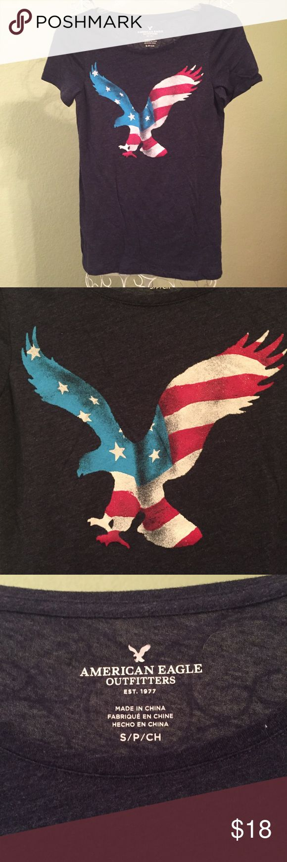 AE USA AMERICAN EAGLE SHIRT patriotic Size small, worn twice, good used condition, please ask if you need more infos/pics before buying to avoid problems!😀 American Eagle Outfitters Tops Tees - Short Sleeve
