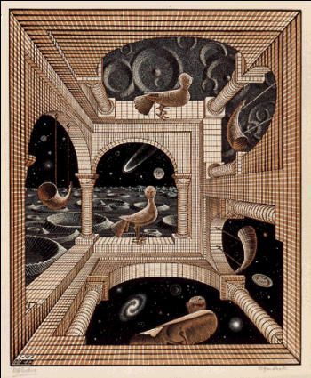 M.C. Escher  Other World 1947 wood engraving and woodcut in black, reddish brown, printed from 3 blocks