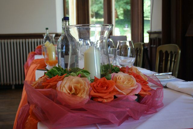 Coral Flower Centerpieces | Top Table wedding decoration Orange & Coral Wedding Theme | Flickr ...