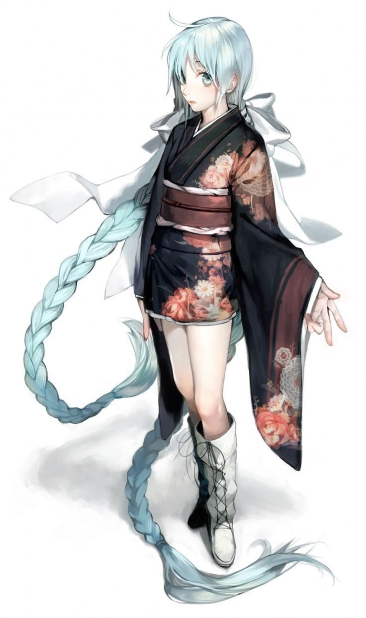 White Haired Anime Girls In Kimonos