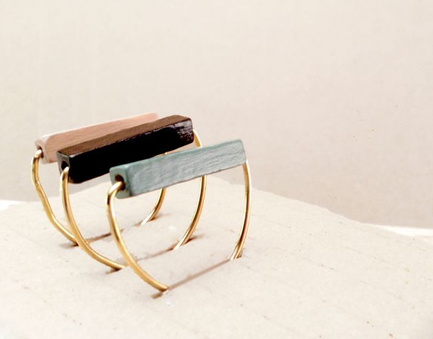 Interchangeable Rings – Minimal Ring // Wood and Brass Ring // Modern – a unique product by Valentinolandia on DaWanda