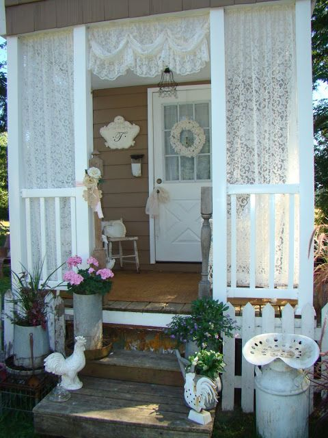 For side porch where panel is...add to front of side also...add flower box on rail and weigh curtains in bottom seam