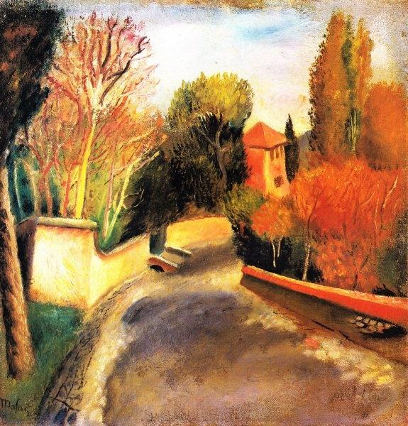 Mario Mafai - Strada con casa rossa