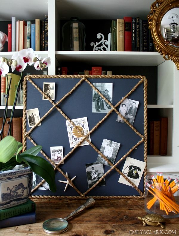 Elegant DIY Rope Memo Board. Nautical OfficeNautical ...