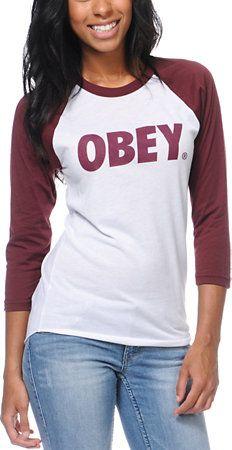 Obey Girls Font White & Burgundy Baseball Tee Shirt - Zumiez - $29.95
