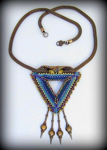 Triangle Teal Pendant Necklace Beadwork Vintage Chain Brass Dangles