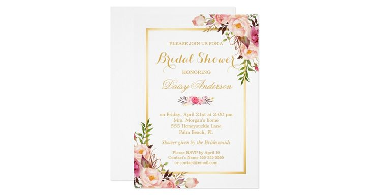 """================= ABOUT THIS DESIGN =================  Wedding Bridal Shower Chic Floral Golden Frame Invites.  (1) You are able to CHANGE the White Background to ANY COLOR you like by clicking the """"Customize it"""" button and setting the Background Color. The text color and size are adjustable too.  (2) If you need any customization or matching items, please feel free to contact me.  (3) You can find matching products (e.g. Invites, RSVP card, Reception Card, Thank You Card, Party Banner…"""