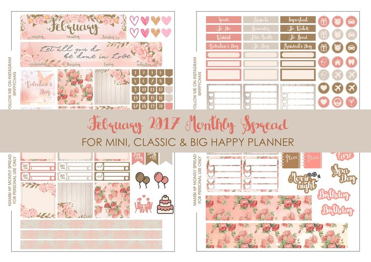 Free February Happy Planner Monthly Stickers