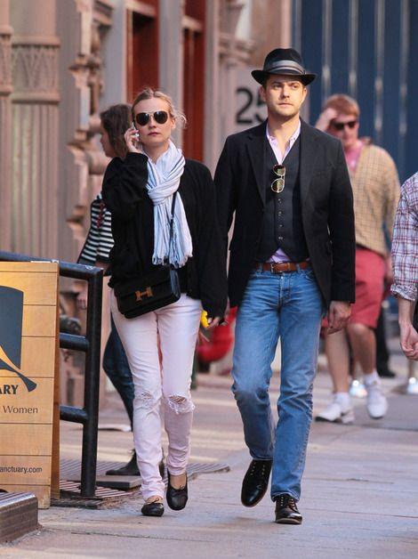 Ballet flats: Diane Kruger wears Chanel Ballet shoesand a Hermes Constance bag with Joshua Jackson