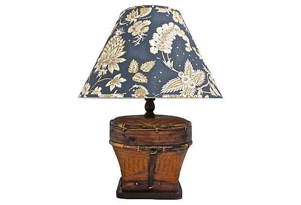 Woven Basket Lamp Shade : Wicker basket lamp floral shade